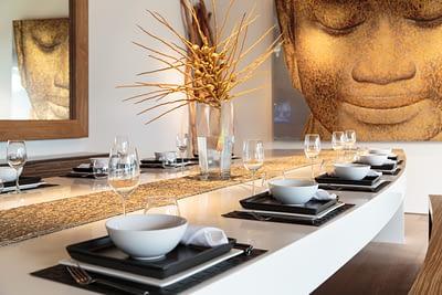 Dining and kitchen area at villa 3, Samsara private estate, Kamala, Phuket, Thailand