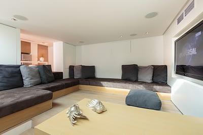 TV lounging room at villa 3, Samsara private estate, Kamala, Phuket, Thailand